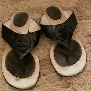 Chanel patent leather sandals size 37
